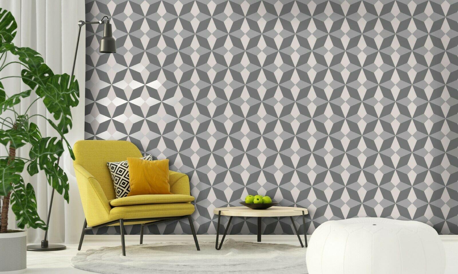 Geometric-Wallpaper-Metallic-Smooth-Textured-Apex-Triangles-Trellis-Diamonds thumbnail 49