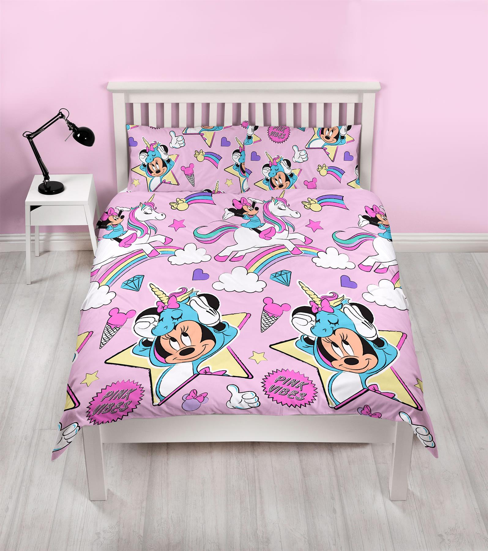 Disney-Mickey-Minnie-mouse-fundas-nordicas-SINGLE-doble-Ropa-De-Cama-Reversible miniatura 44