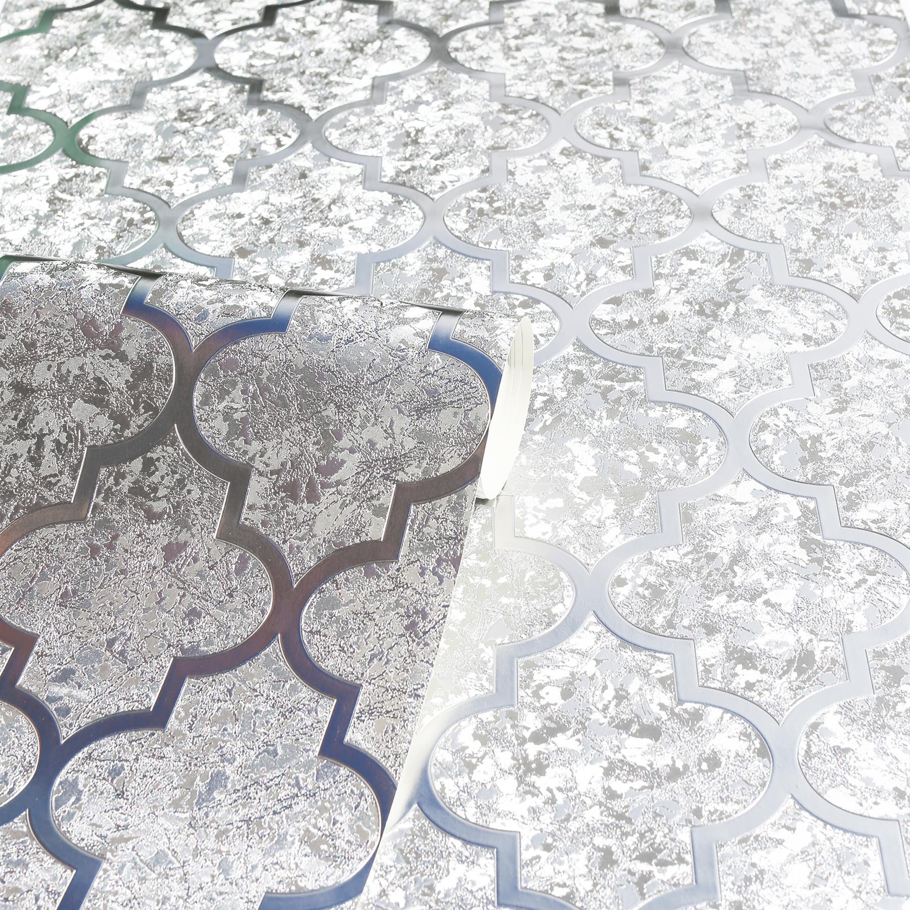 thumbnail 9 - Arthouse Luxury Foil Velvet Trellis Geometric Textured Wallpaper 4 Colours 10m