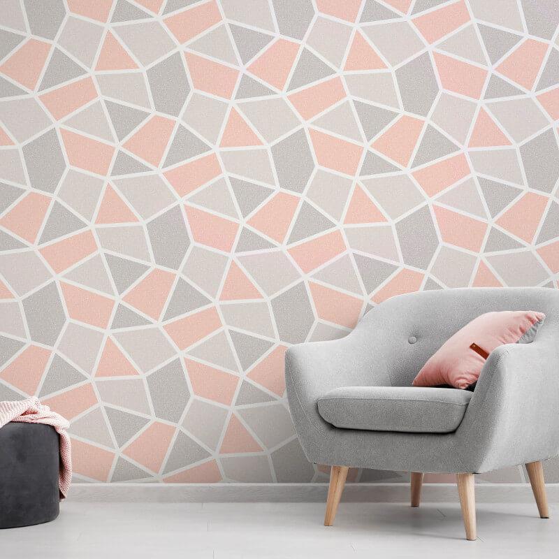 Geometric-Wallpaper-Metallic-Smooth-Textured-Apex-Triangles-Trellis-Diamonds thumbnail 33