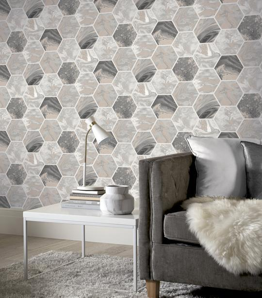 Arthouse-Marbled-Hex-Metallic-Geometric-Wallpaper-2-Colours-10m-Rolls thumbnail 4