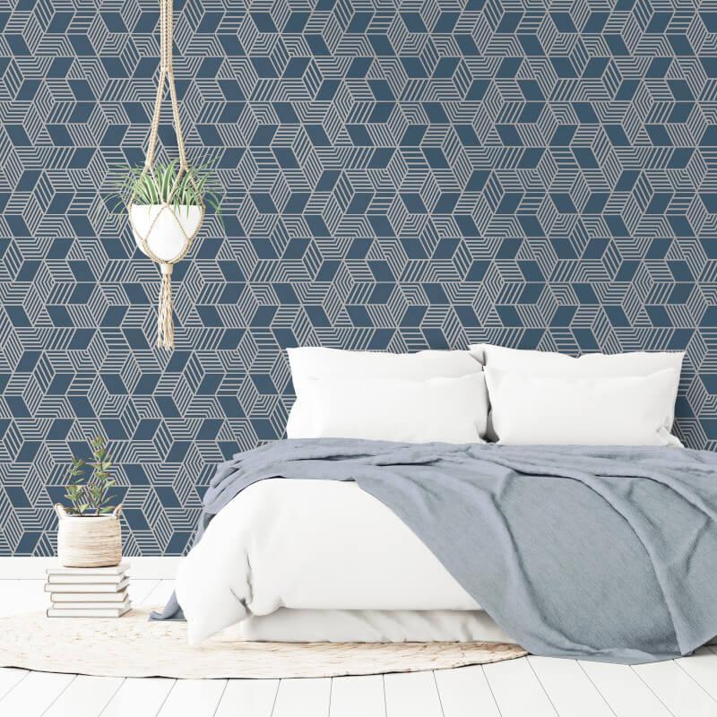 Geometric-Wallpaper-Metallic-Smooth-Textured-Apex-Triangles-Trellis-Diamonds thumbnail 27