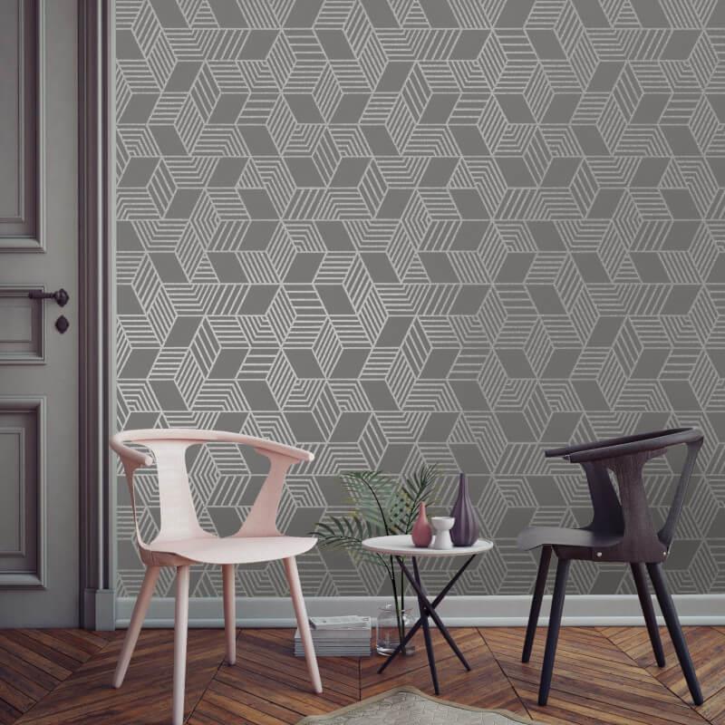 Geometric-Wallpaper-Metallic-Smooth-Textured-Apex-Triangles-Trellis-Diamonds thumbnail 29