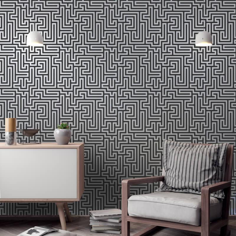 Holden-Decor-Glistening-Maze-Metallic-Wallpaper-5-Colours thumbnail 7
