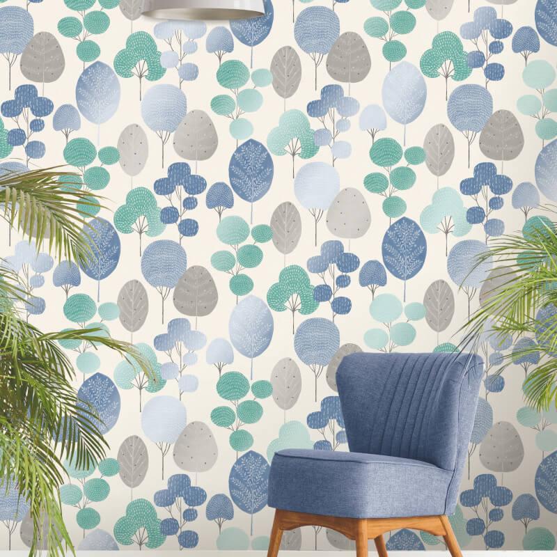 thumbnail 3 - Fine Decor Scandi Geo/Forrest Metallic Finish 10m Wallpaper