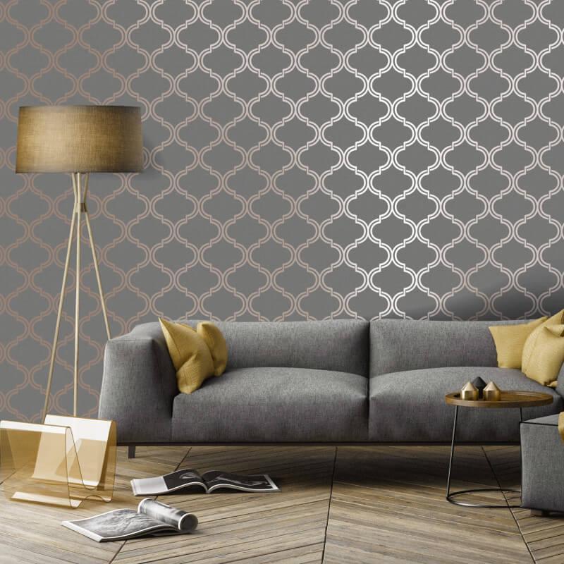 Geometric-Wallpaper-Metallic-Smooth-Textured-Apex-Triangles-Trellis-Diamonds thumbnail 43