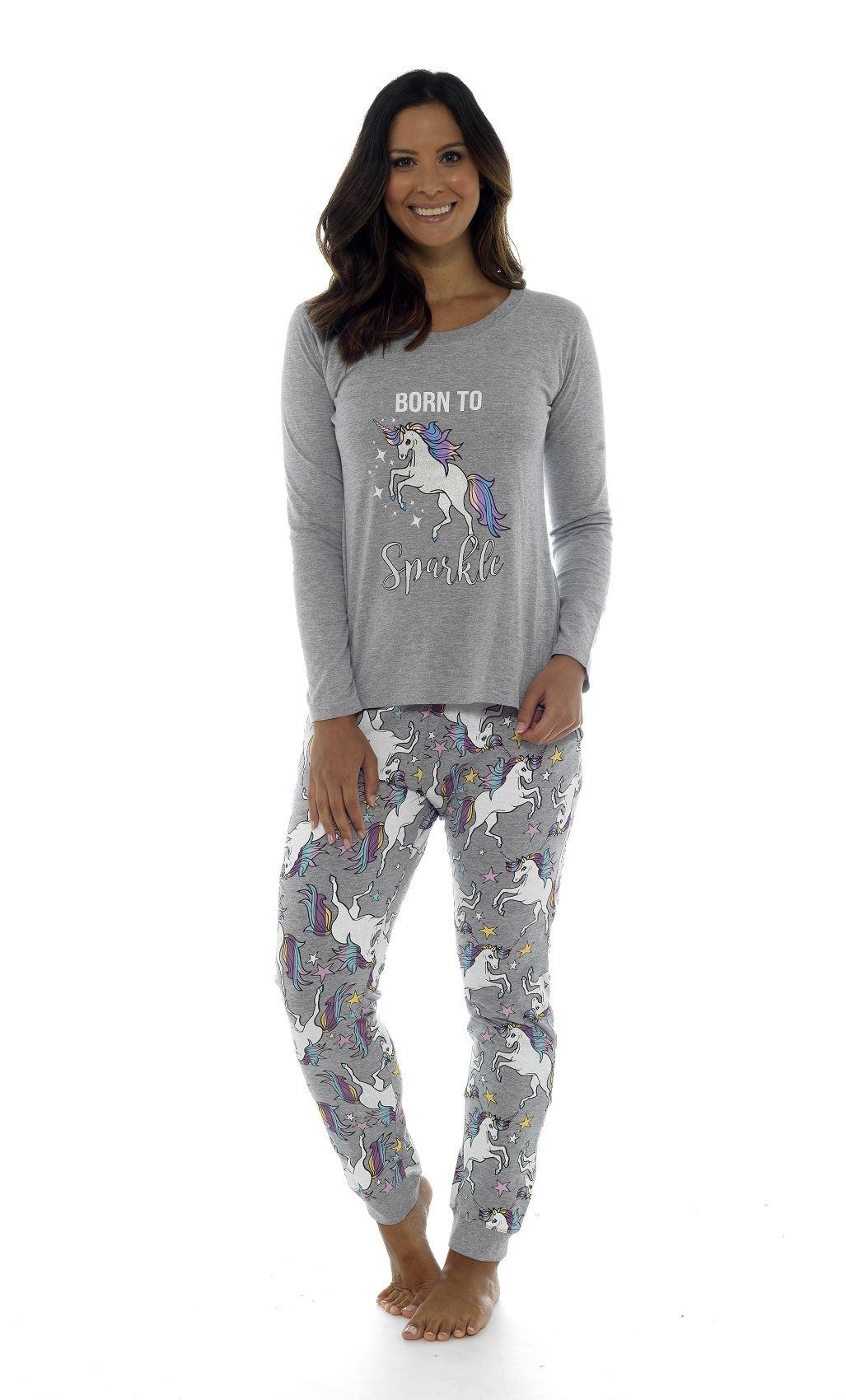 87fe25b887 Ladies Girls Cotton Born To Sparkle Unicorn Grey Pyjama Mini Me ...