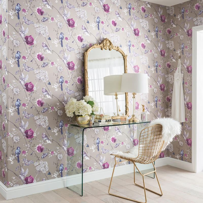 thumbnail 5 - Arthouse-Paradise-Garden-Butterflies-Floral-Glitter-10m-Wallpaper-5-Colours