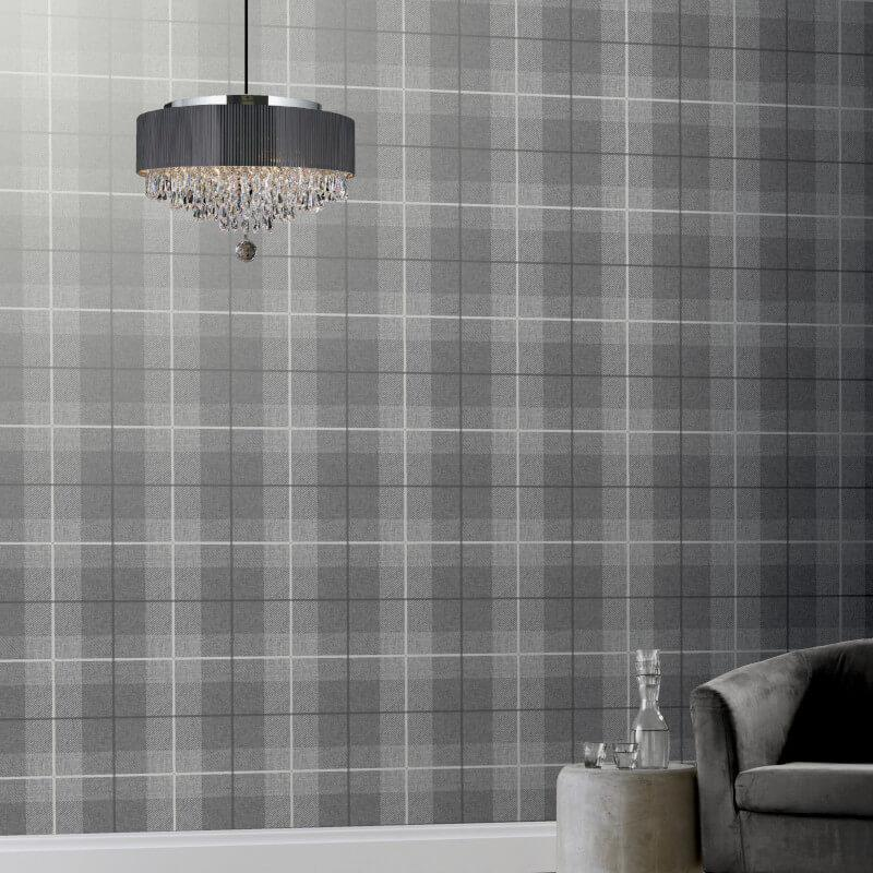 Checked-Tartan-Wallpaper-Textured-Glitter-Country-Check-Modern-Collection thumbnail 5