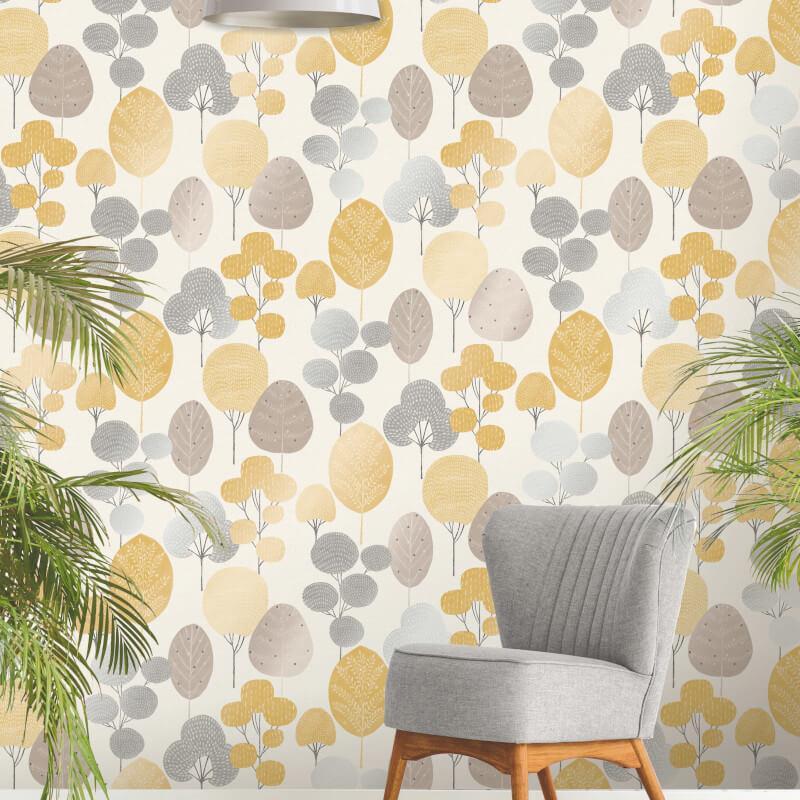 thumbnail 7 - Fine Decor Scandi Geo/Forrest Metallic Finish 10m Wallpaper