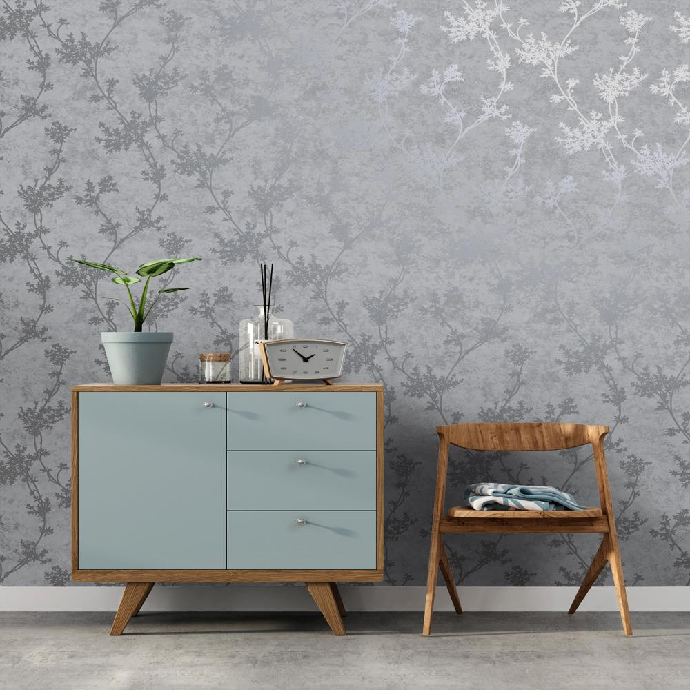 thumbnail 5 - Holden Decor Chevril Shinny Floral Trail Textured Wallpaper 3 Colours
