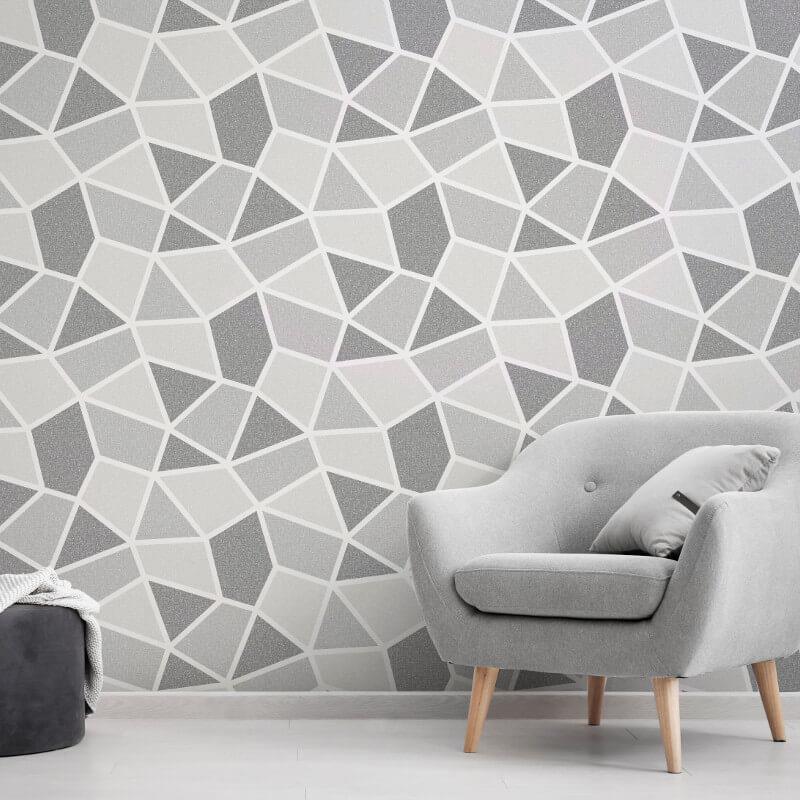 Geometric-Wallpaper-Metallic-Smooth-Textured-Apex-Triangles-Trellis-Diamonds thumbnail 55