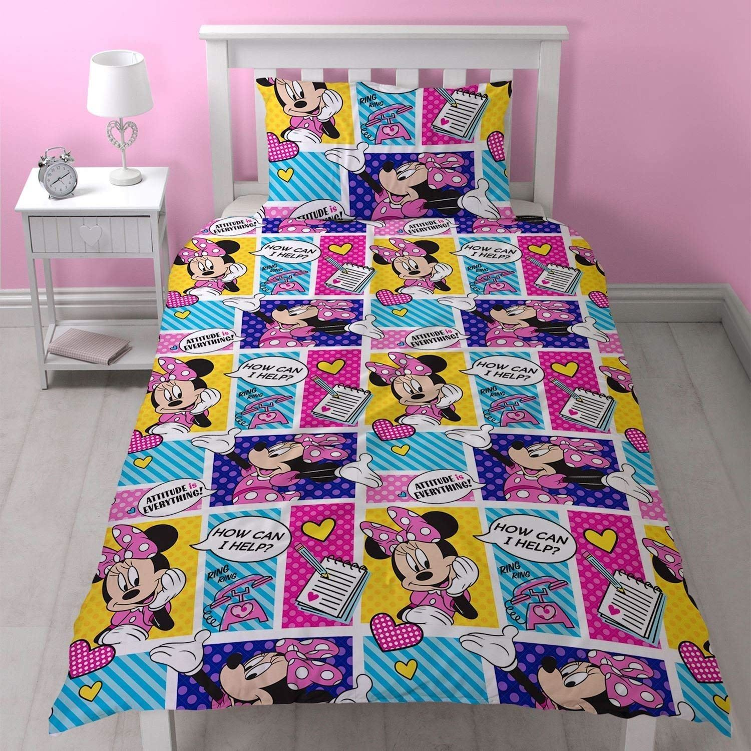 Disney-Mickey-Minnie-mouse-fundas-nordicas-SINGLE-doble-Ropa-De-Cama-Reversible miniatura 29