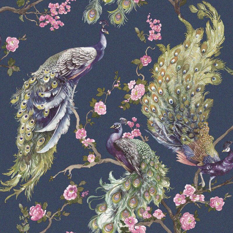 Holden-Decor-Menali-Peacock-Design-Glitter-Wallpaper-10m-4-Colours thumbnail 7