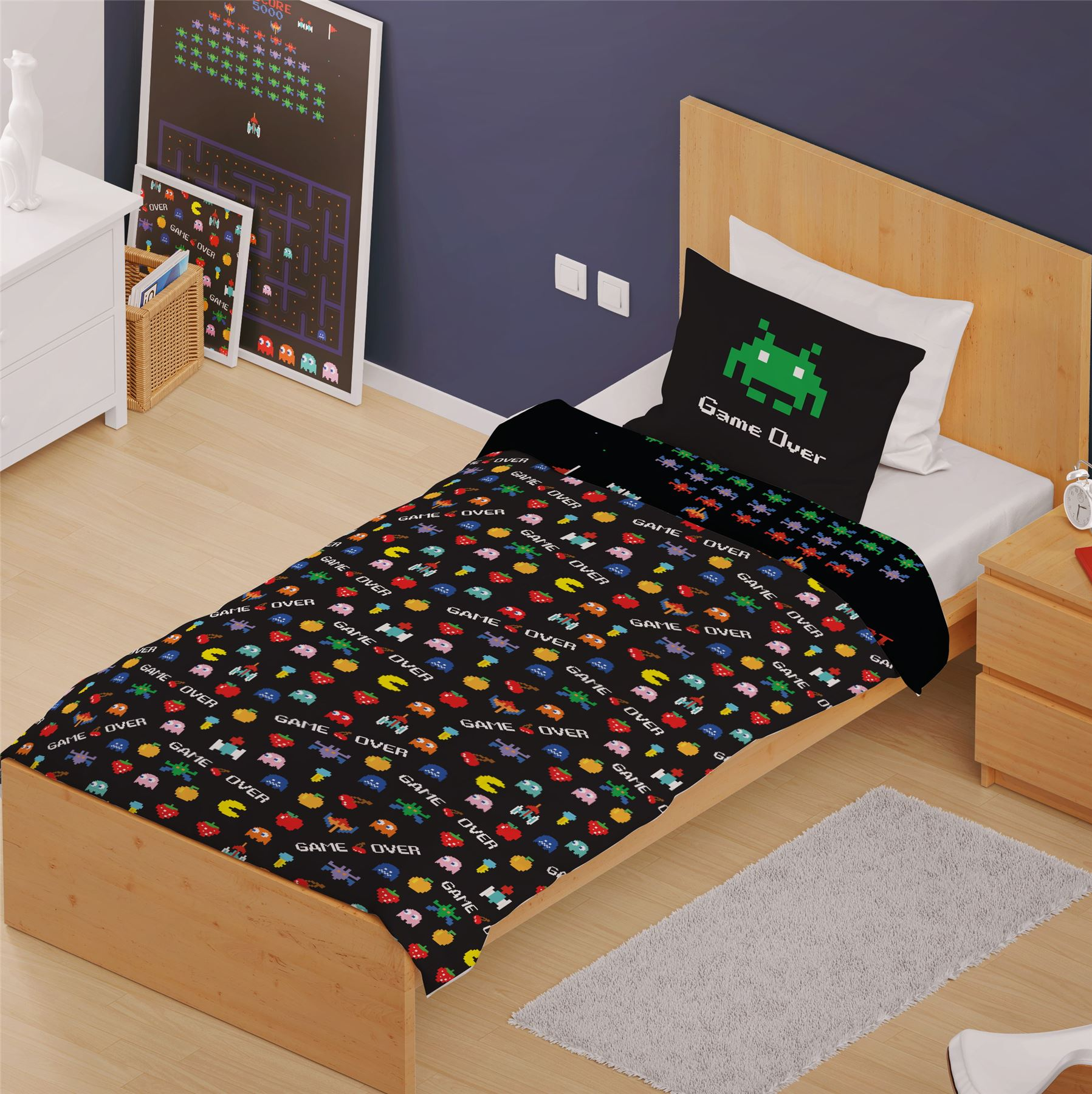 Classic-Retro-Games-Single-Double-Reversible-Duvet-Cover-Space-Invaders-Pac-man thumbnail 5