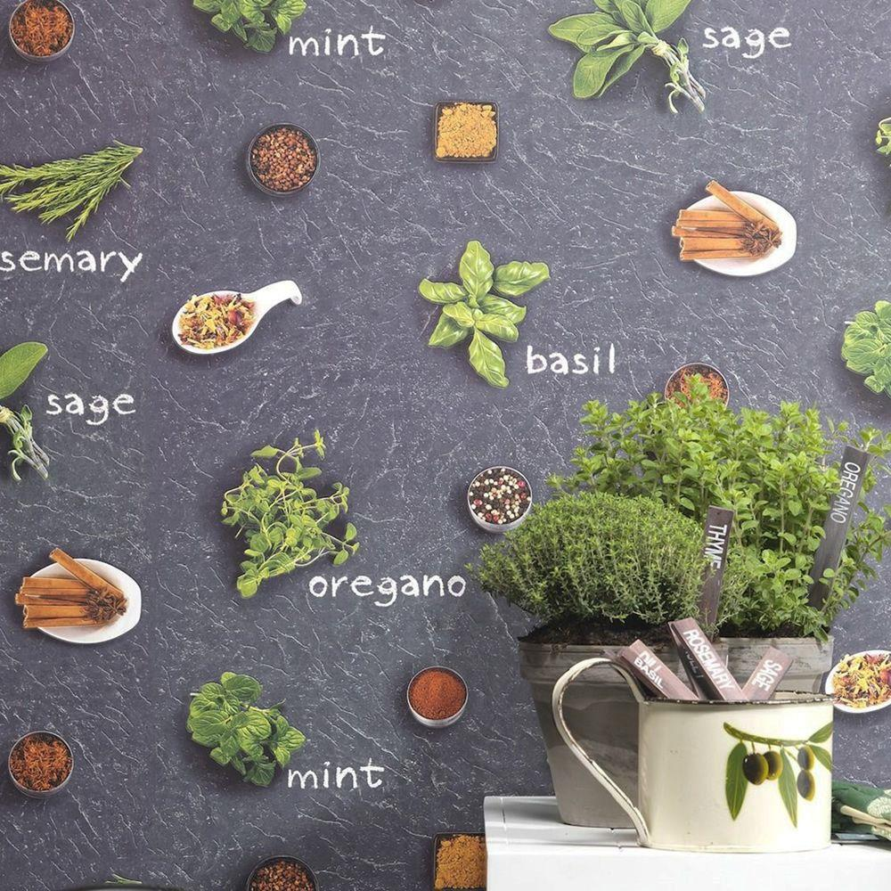 Rasch-Kitchen-Inspired-Wallpaper-Herbs-amp-Spices-Coffee-Shop-Utensils-Clock thumbnail 5