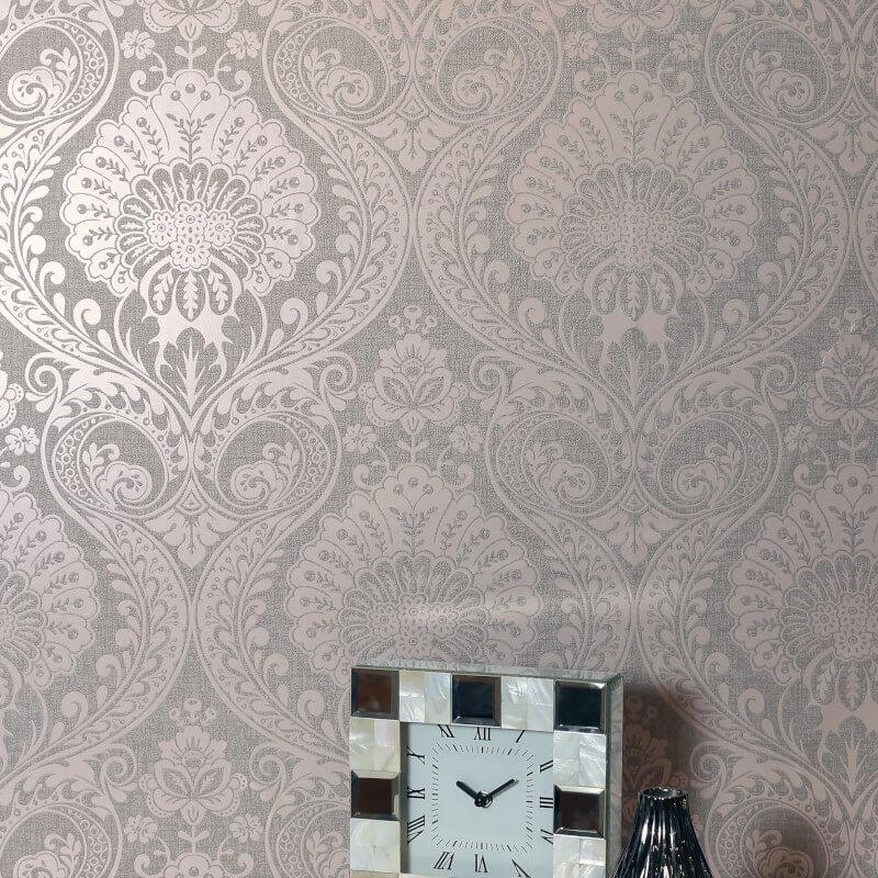 Arthouse-Luxe-Damask-Hexagan-Ogee-Geo-Metallic-Wallpaper-3-Colours thumbnail 3