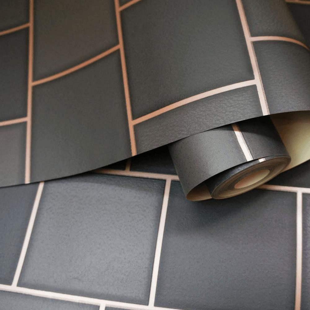 Kitchen Bathroom Holden Decor Glass Tile Charcoal Rose Gold Wallpaper 89353