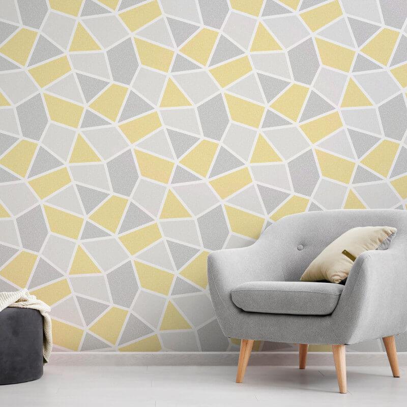 Geometric-Wallpaper-Metallic-Smooth-Textured-Apex-Triangles-Trellis-Diamonds thumbnail 57