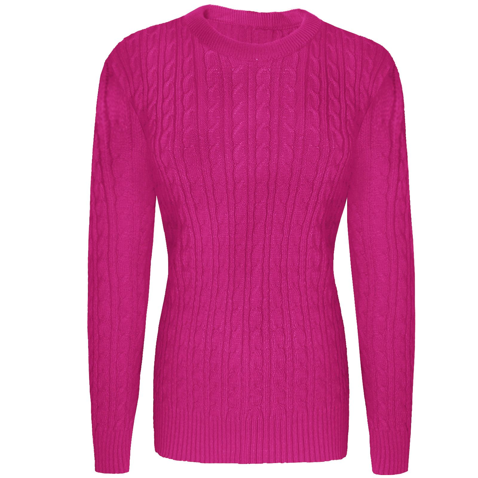 b1a73ee47f Ladies Womens Crew Neck Cable Knitted Sweater Jumpers Pullover Long Sleeve  Tops Fuchsia S m. About this product. Picture 1 of 2  Picture 2 of 2
