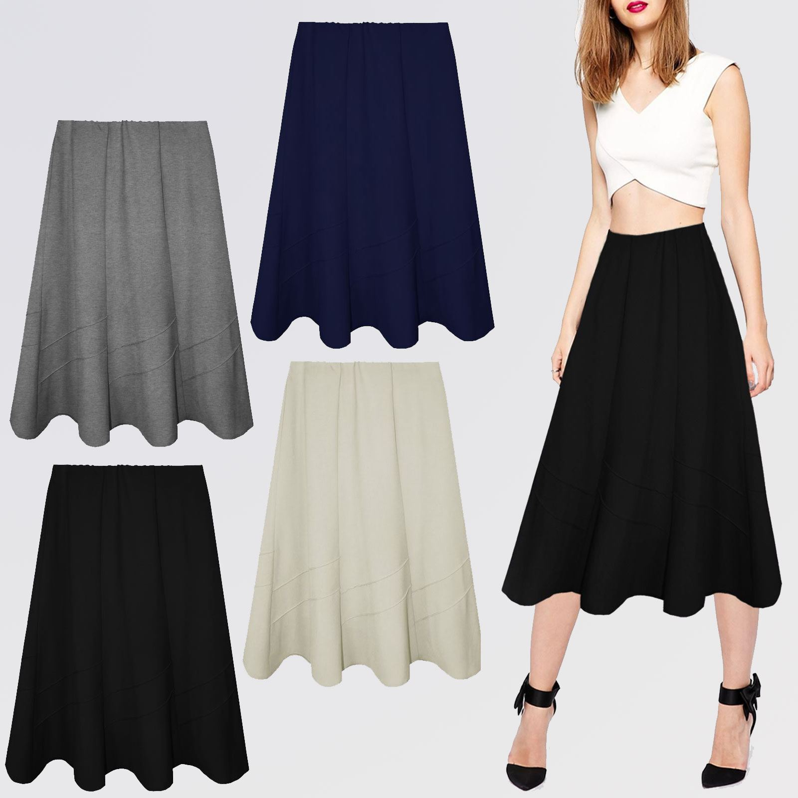 6734ee95ca Details about WOMENS LADIES MID LENGTH SKIRTS ELASTICATED FLARED FANCY  DRESS SKATER LONG SWING