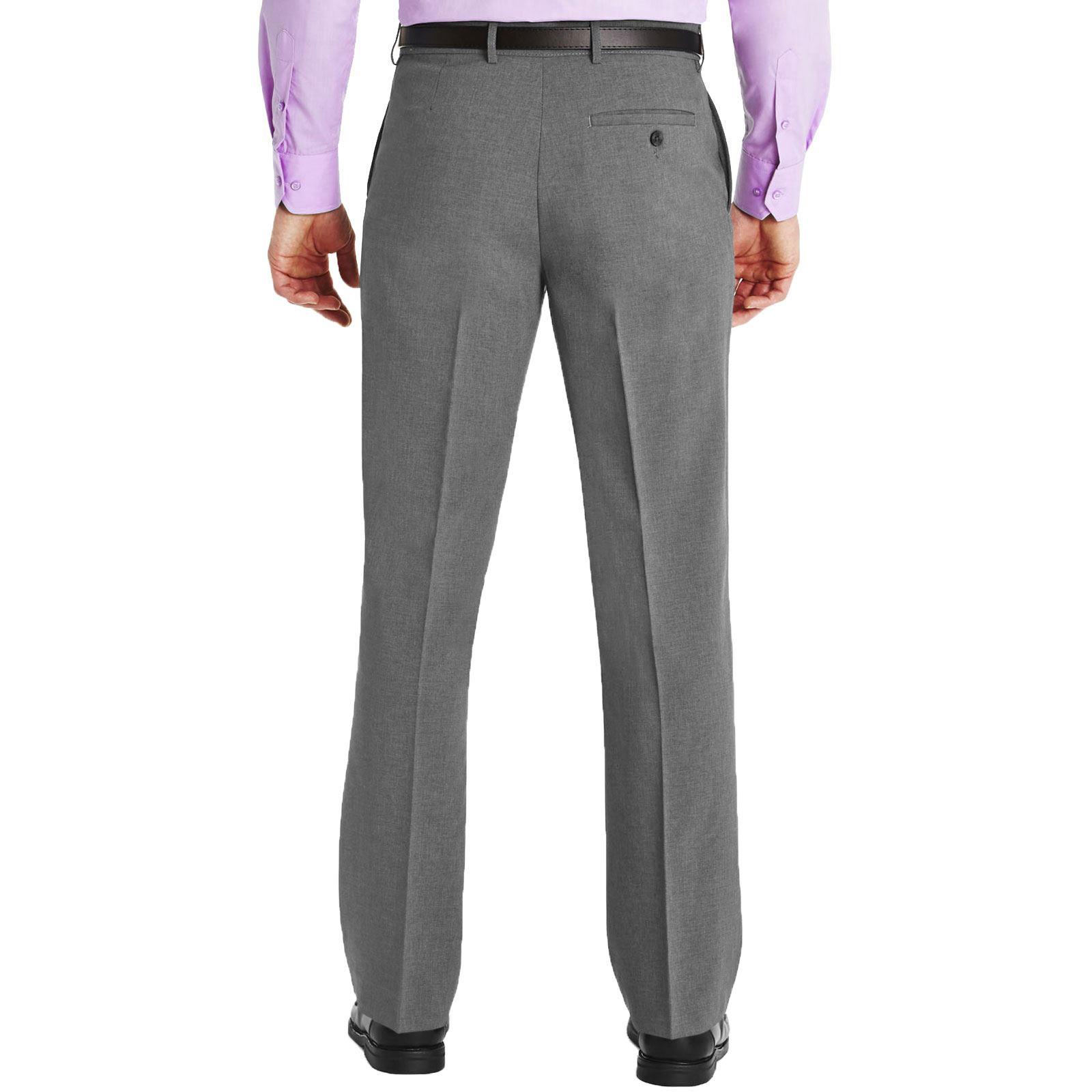 Mens Trousers Formal Office Work Smart School Uniform Belted Big