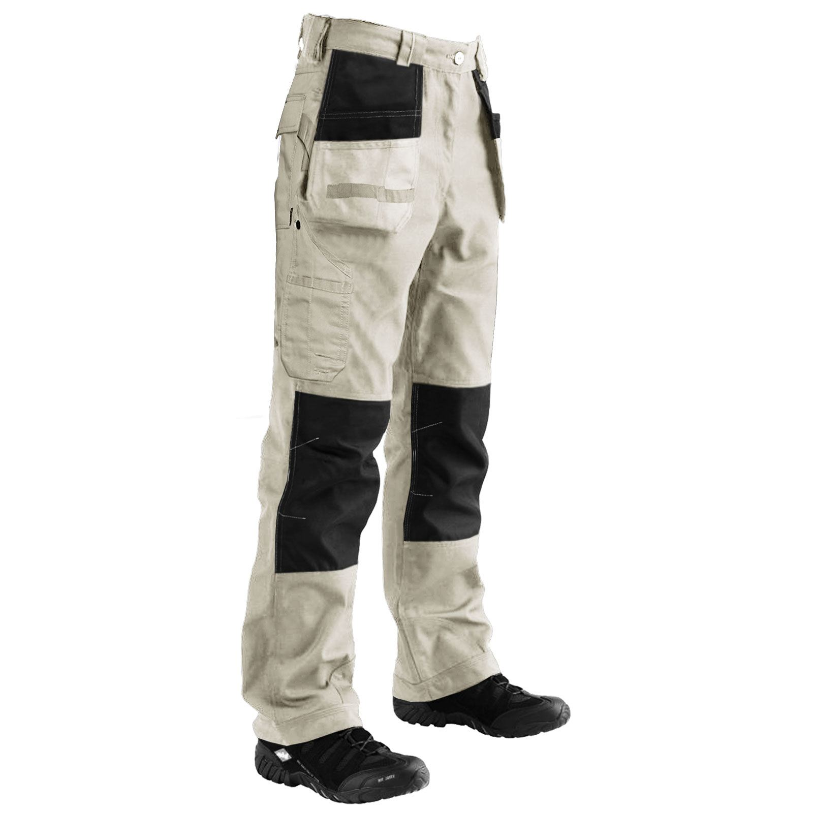 MENS CARGO COMBAT WORK TROUSERS WITH KNEE PAD POCKETS WORKER HEAVY DUTY PANTS