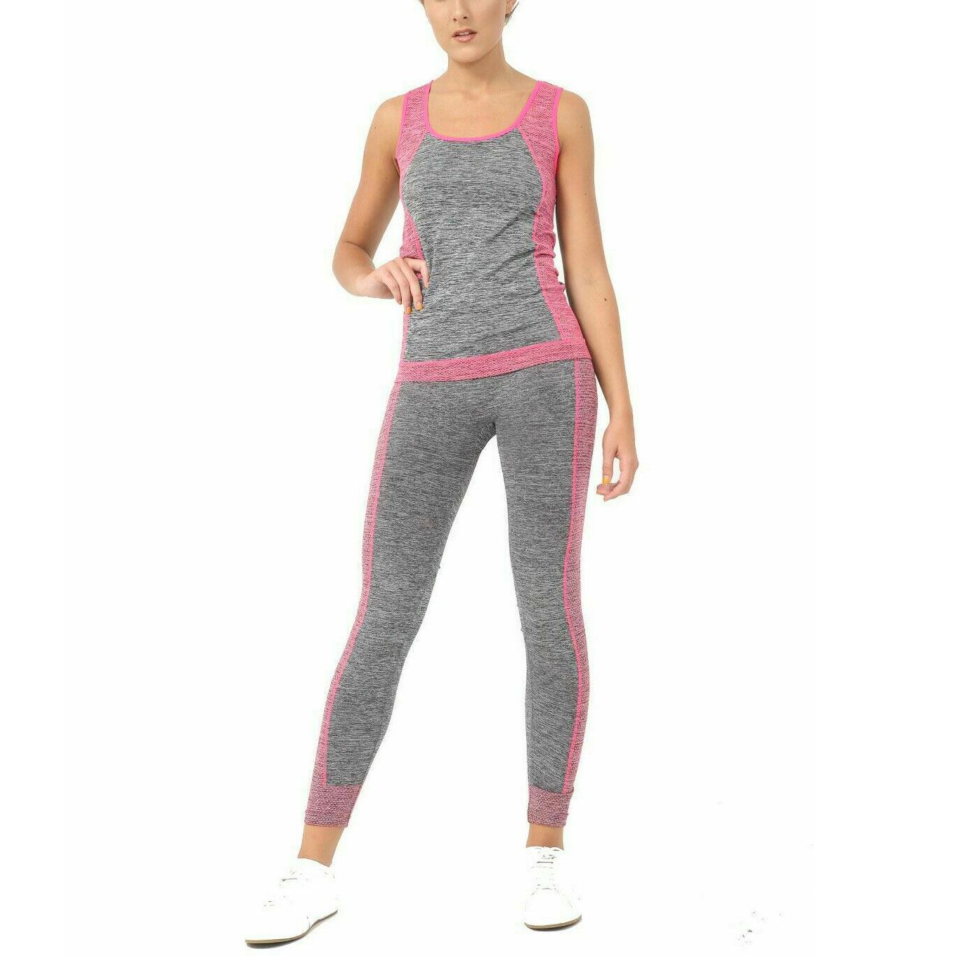 2pcs Damen Sport Yoga Anzug Weste Top Leggings Hose Outfit