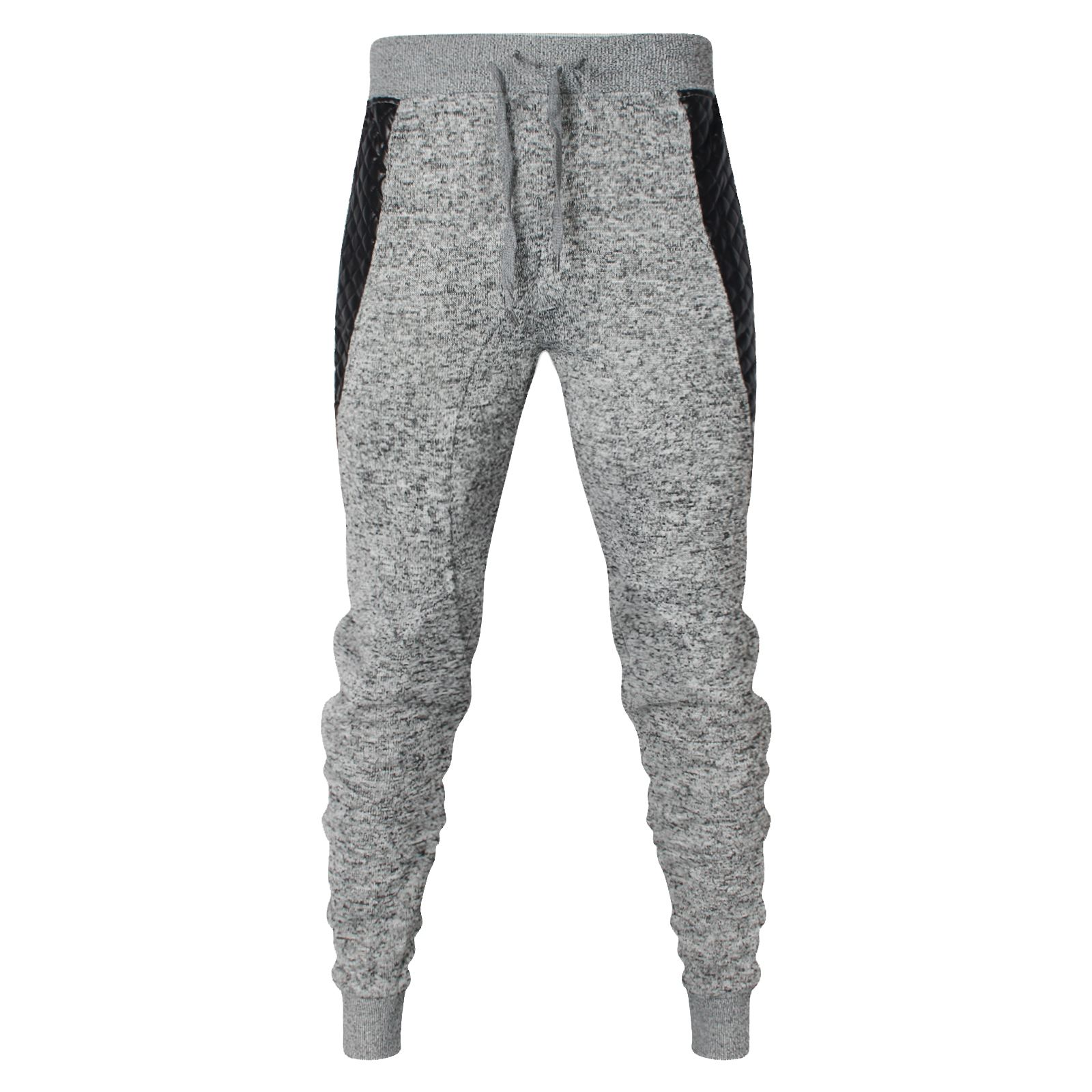 86136be8a5 Details about MENS SLIM FIT SKINNY JOGGING BOTTOMS FLEECE SWEATS PANTS  PATCH WORK GYM TROUSERS