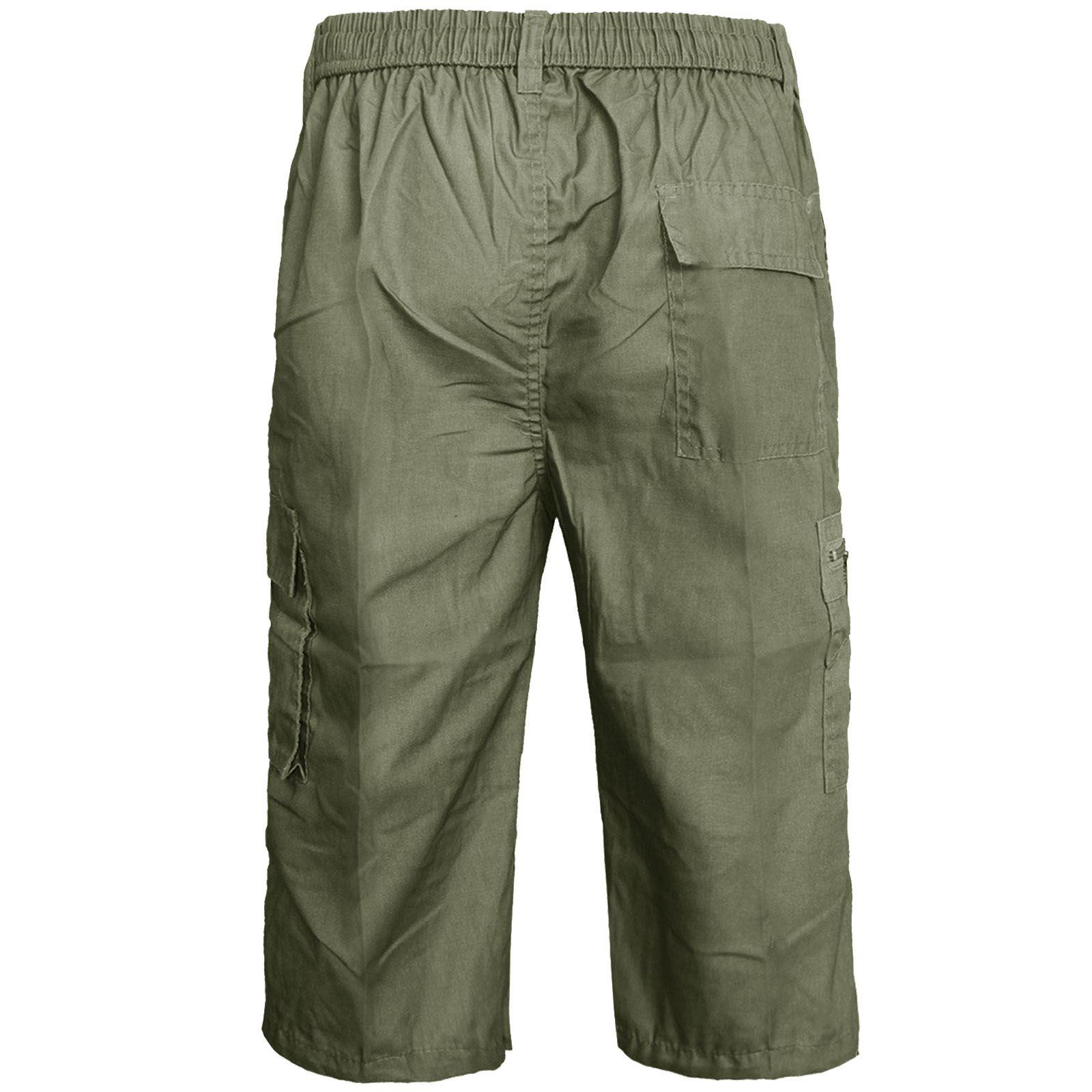 NEW MENS CARGO COMBAT 3//4 SHORTS LONG KNEE LENGTH ELASTICATED WAIST COTTON PANTS