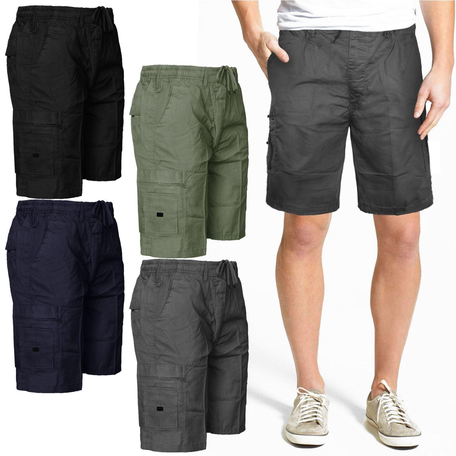 Homme cargo combat shorts//3//4 short//pantalon en coton taille élastique pantalon
