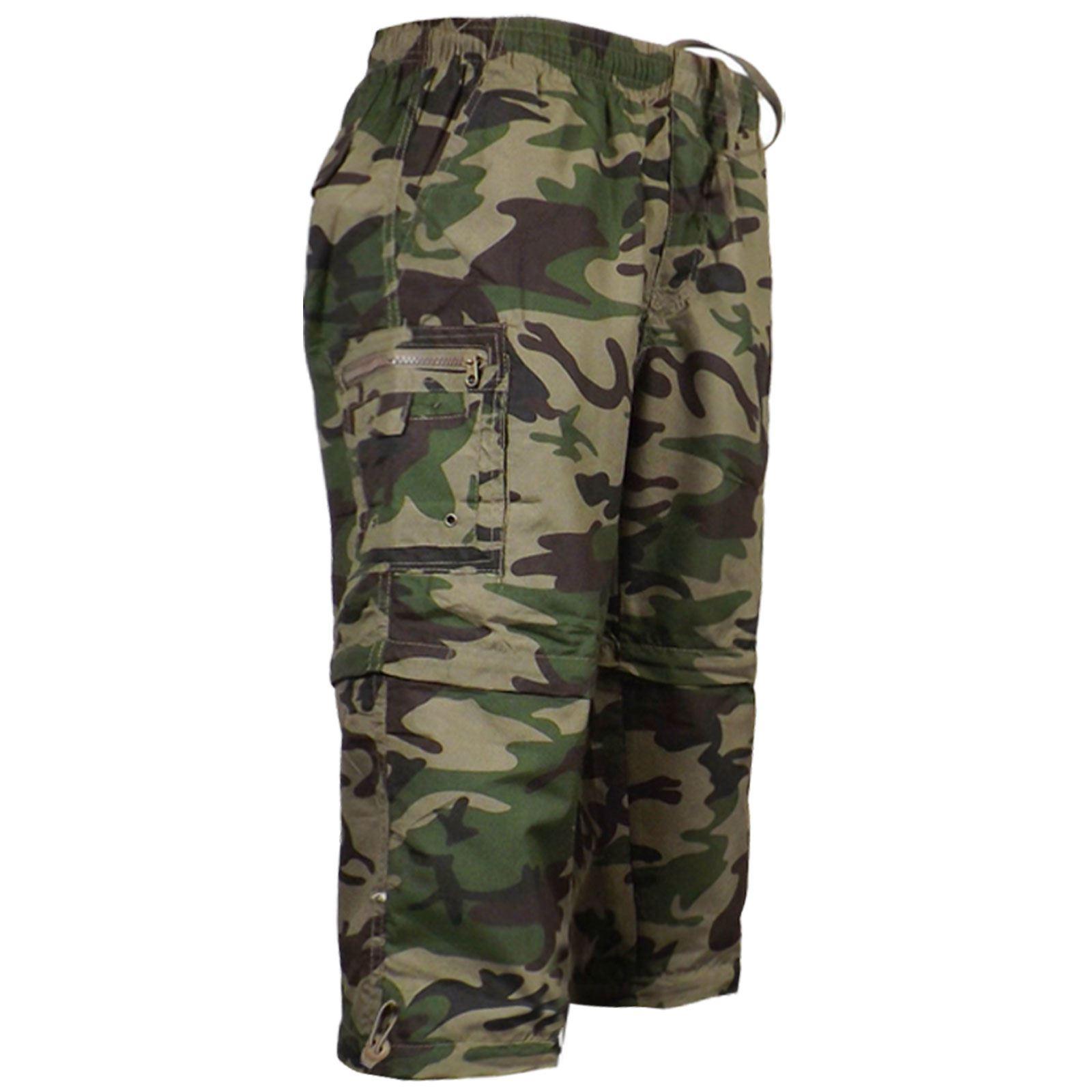 Homme-2-En-1-Camouflage-Short-Army-Zip-Off-Combat-Pantalon-Cargo-Travail-Pantalon-S-2XL