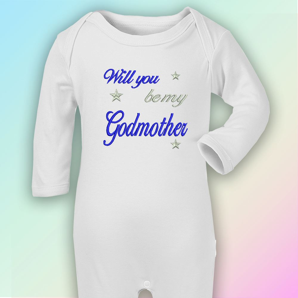 Will You Be My Godmother Embroidered Baby Romper Babygrow Gift Personalised