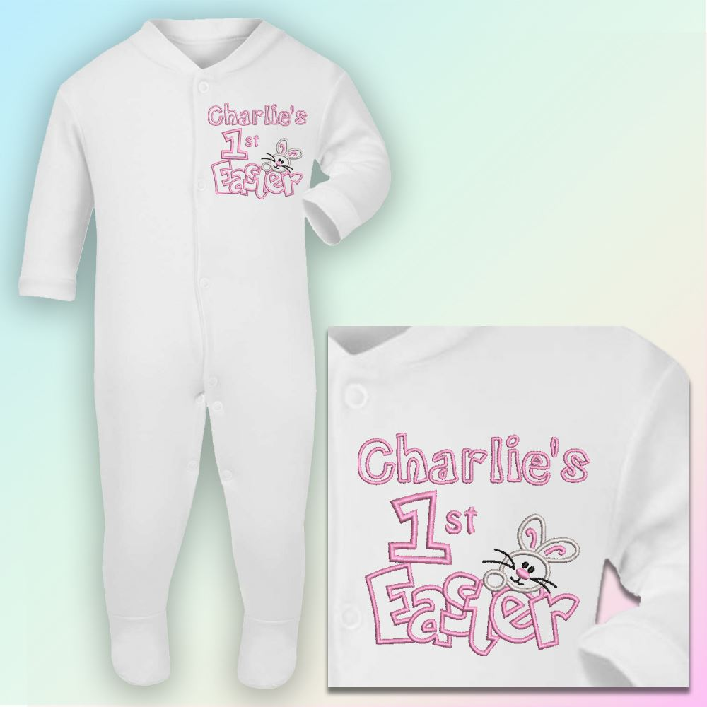 Name 1st easter bunny embroidered baby sleepsuit gift personalised name 1st easter bunny embroidered baby sleepsuit gift personalised first negle Choice Image