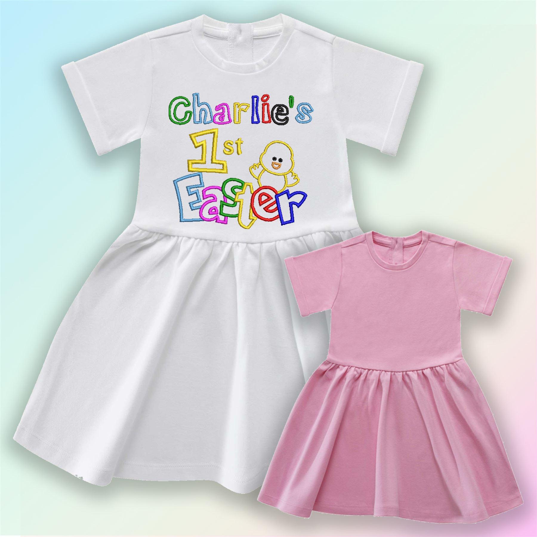 Nom 1st Pâques-Poussin brodé Baby T-shirt cadeau personnalisé Premier Unisexe