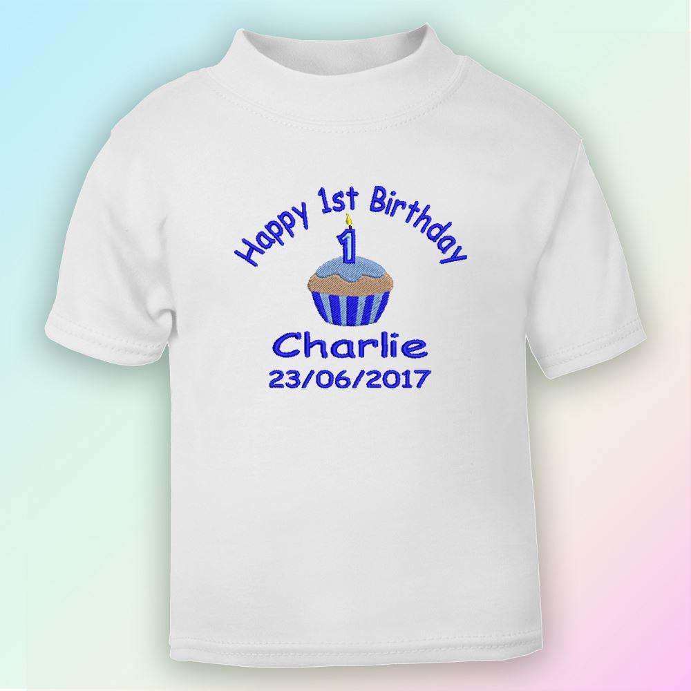 Happy 1st Birthday Boy Embroidered Baby T Shirt