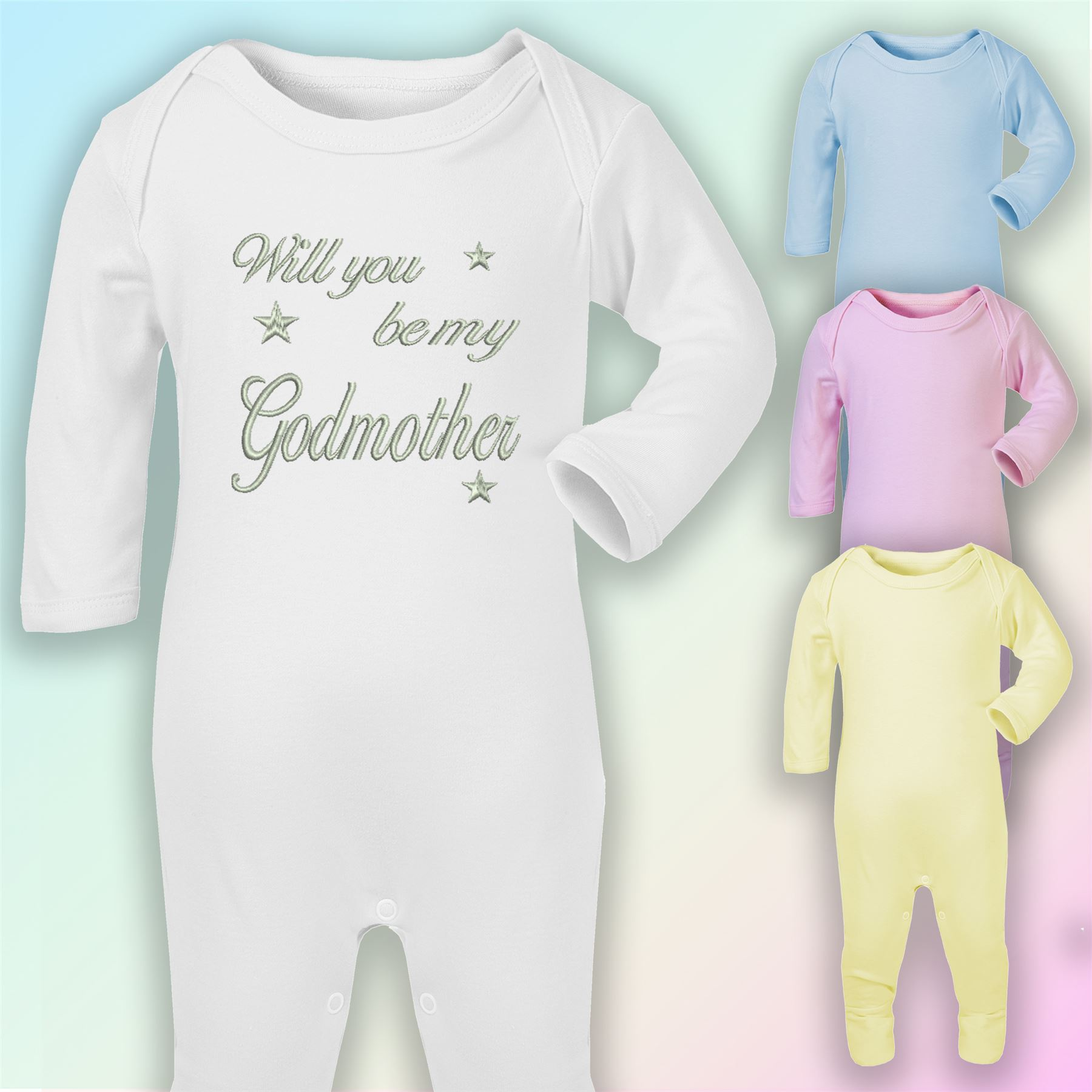 Personalised Be My Godfather Babygrow Cool Gift Present Announcement