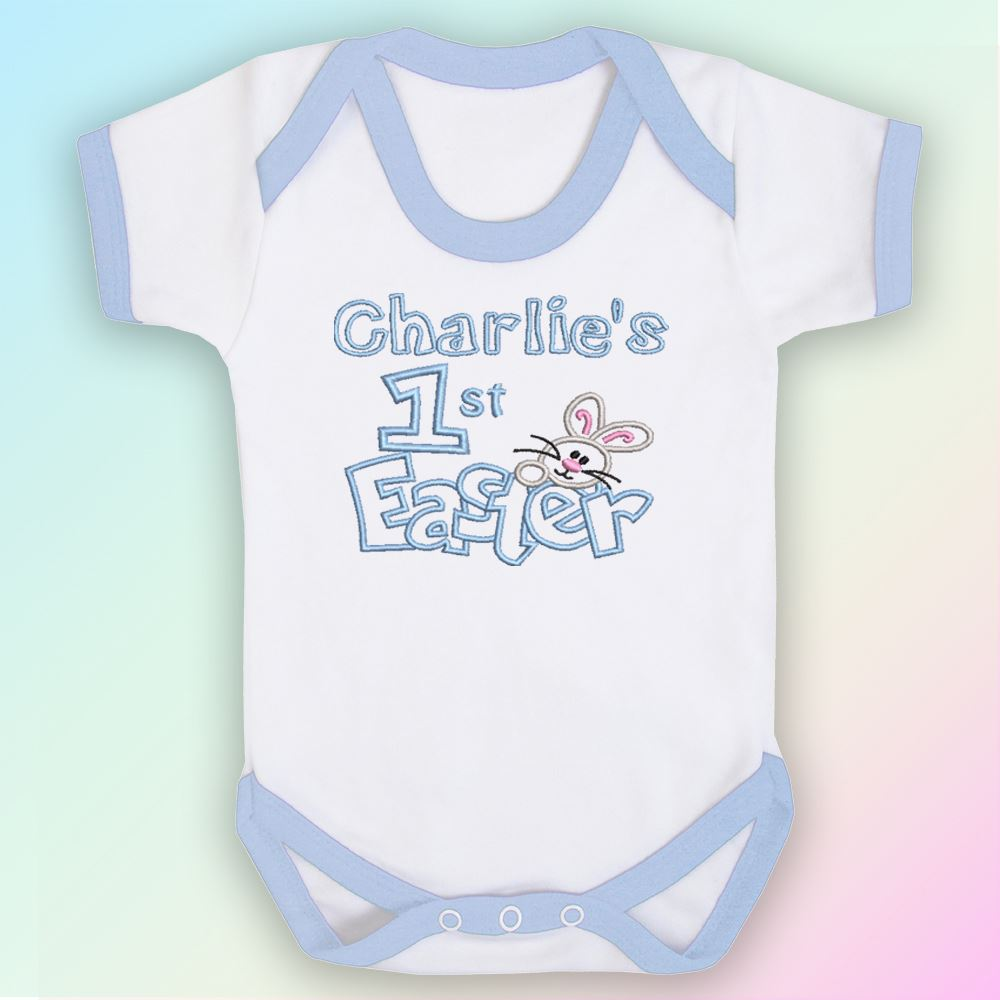 Name 1st Easter Bunny Embroidered Baby Romper Babygrow Gift Personalised First