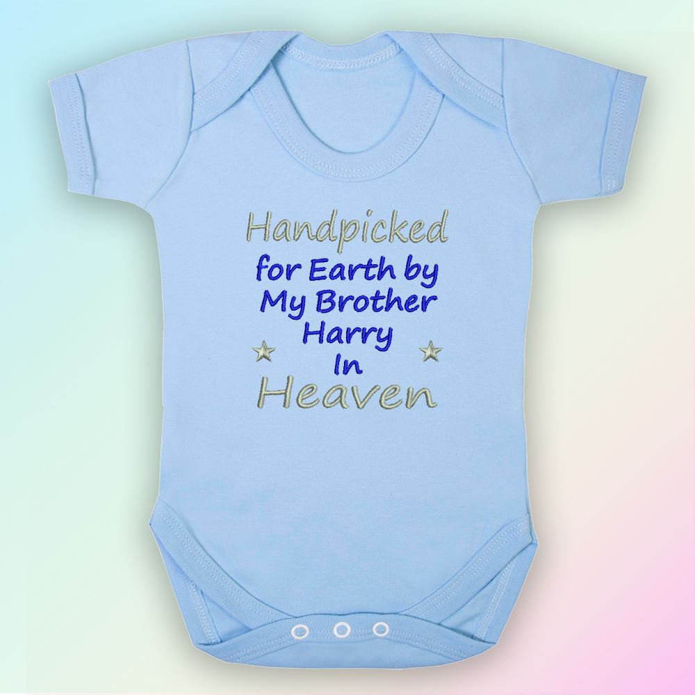 Handpicked for Earth Nanny Embroidered Baby Vest Gift Heaven Nan Nanna
