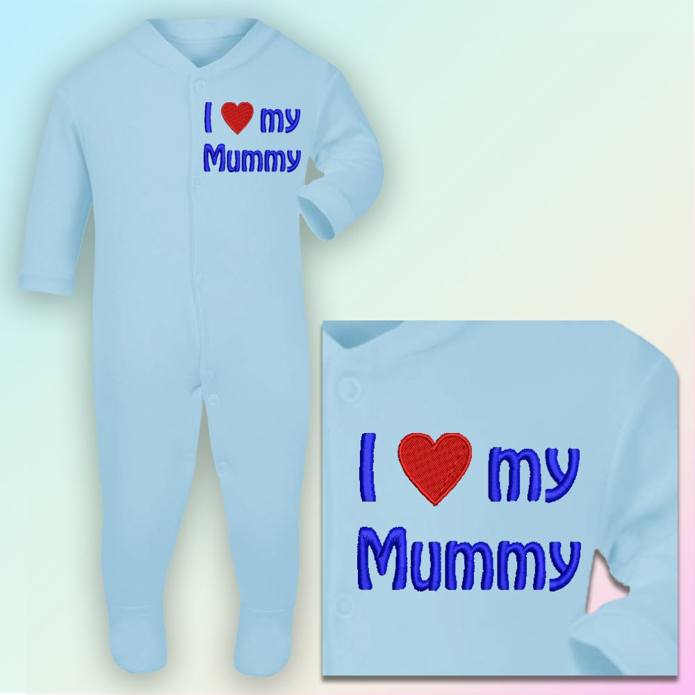I Love My Mummy Embroidered Baby Sleepsuit Gift Mum Mother Day