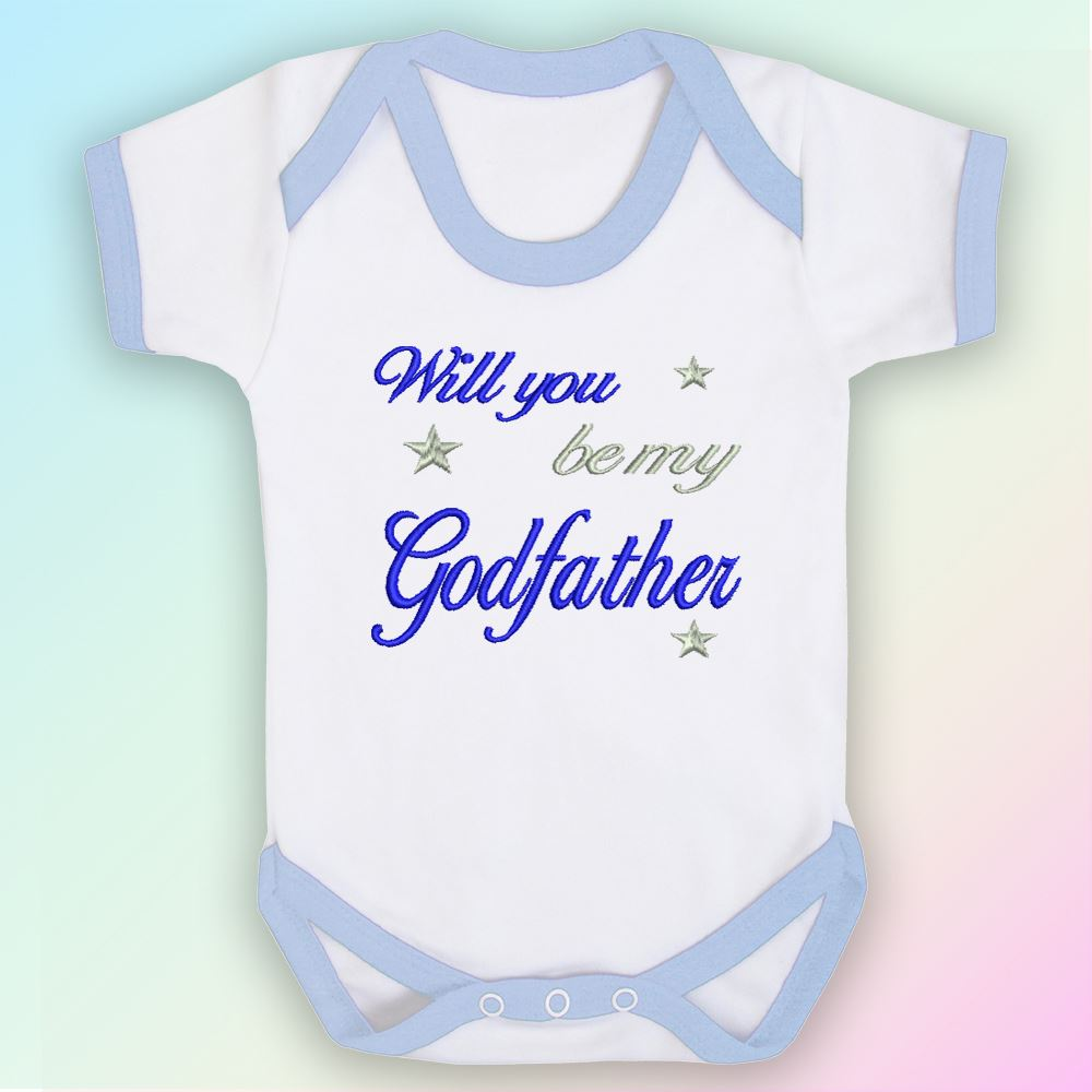 b285b50da514a Details about Will You Be My Godfather Embroidered Baby Vest Gift Godparent