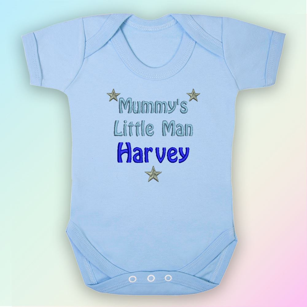 Mummys Little Man Embroidered Baby Vest Gift Personalised Son Mum