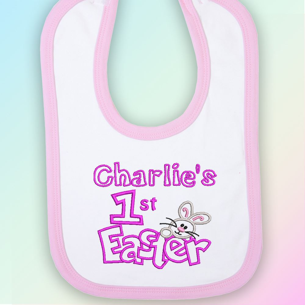 Name 1st Easter Bunny Embroidered Baby Bib Gift Personalised First Rabbit