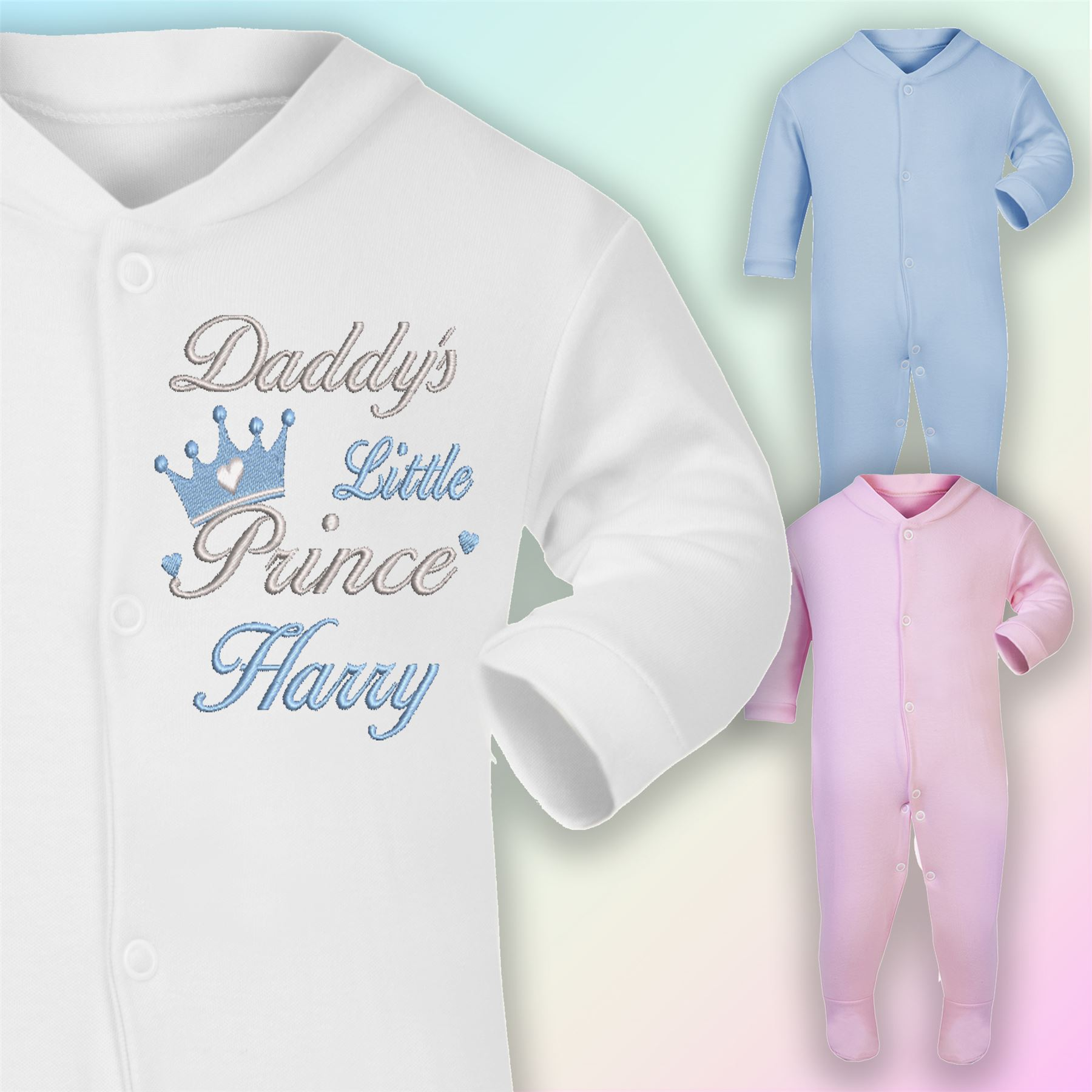 Chick Embroidered Baby Sleepsuit Gift Personalised First Name 1st Easter