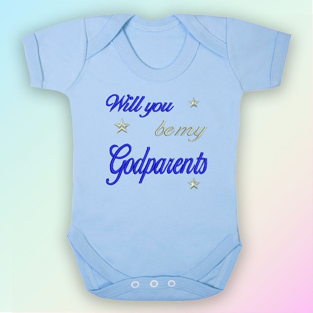 Will You Be My Godfather Embroidered Baby Vest Gift Godparent