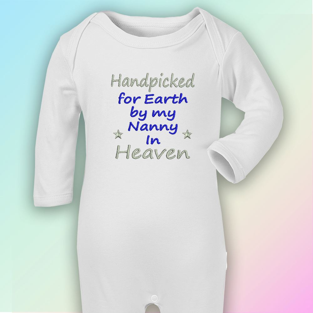 Handpicked for Earth Nanny Embroidered Baby Romper Babygrow Gift Heaven Nan