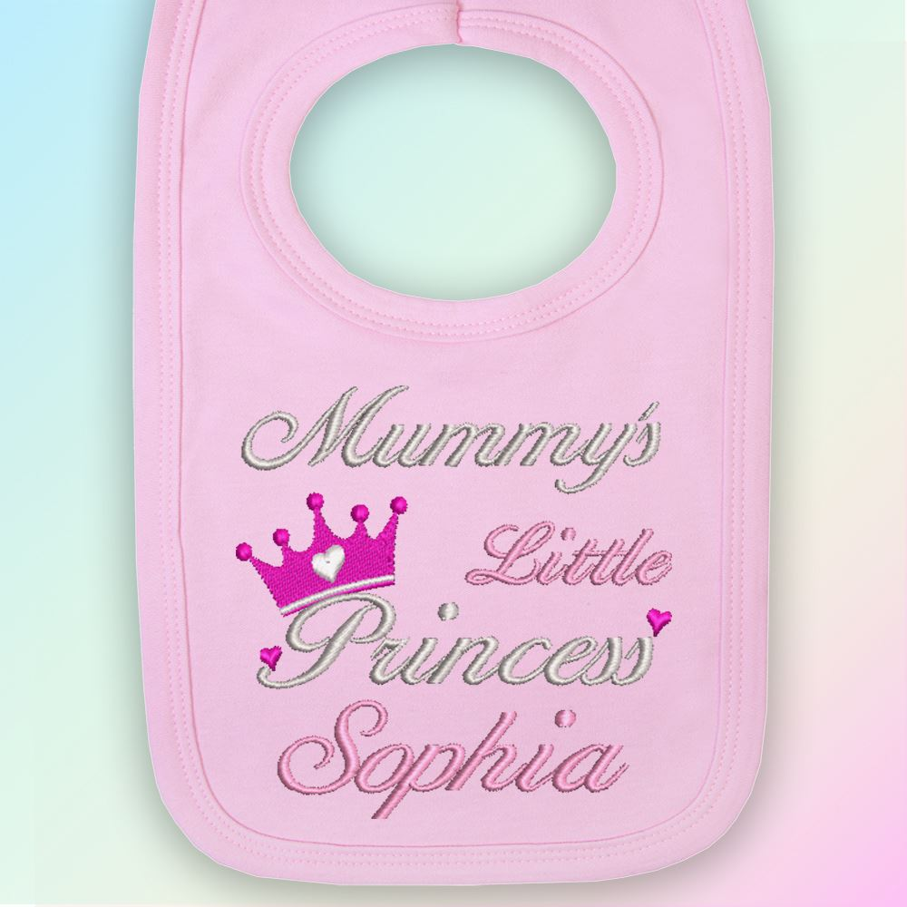Mummy/'s Princess Name Embroidered Baby Bib Gift Personalised Girl
