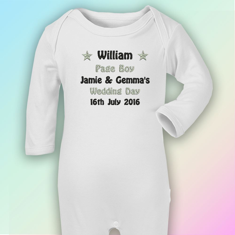 Wedding Page Boy Embroidered Baby T-Shirt Gift Personalised