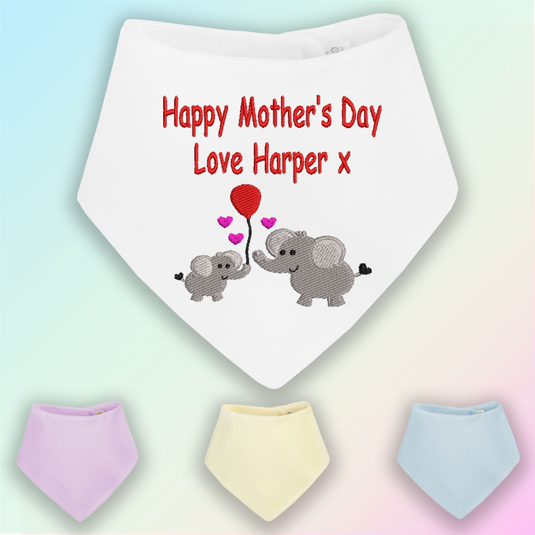 Unisex Personalised Embroidered Baby Dribble Bibs WORDING OF YOUR CHOICE.