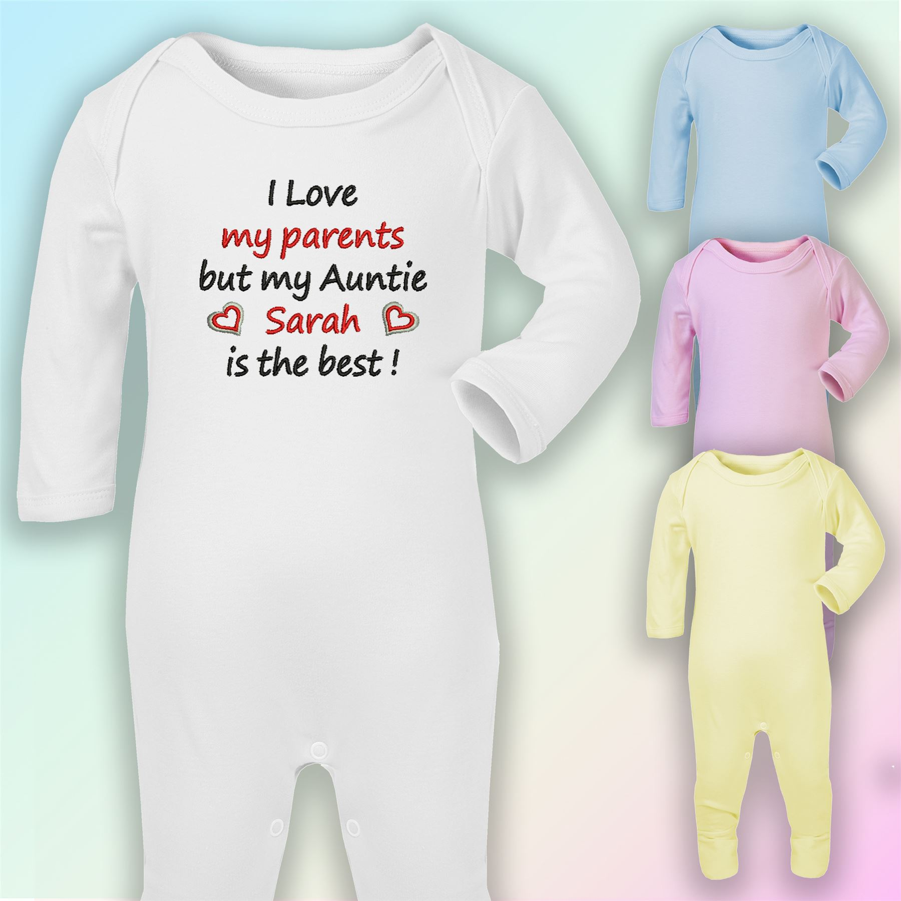 I/'m The Little Sister Embroidered Baby Vest Gift Personalised